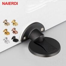 NAIERDI Magnet Tür Stoppt 304 Edelstahl Tür Stopper Magnetische Versteckte Halter Fangen Boden Für Wc Möbel Hardware