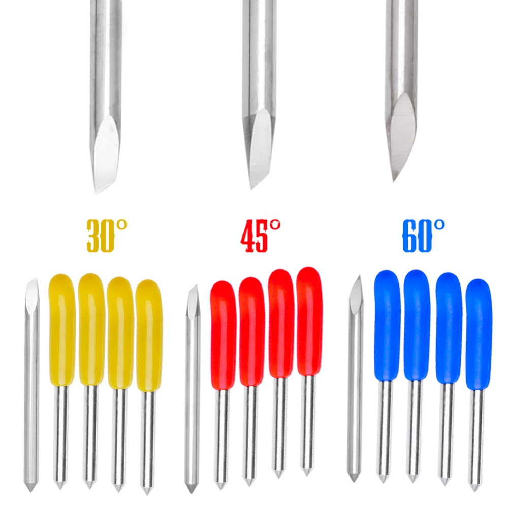 Nice 15 pièces/ensemble 30/45/60 degrés lames coupe traceur fichiers pour Pcut vinyle Cutter lame