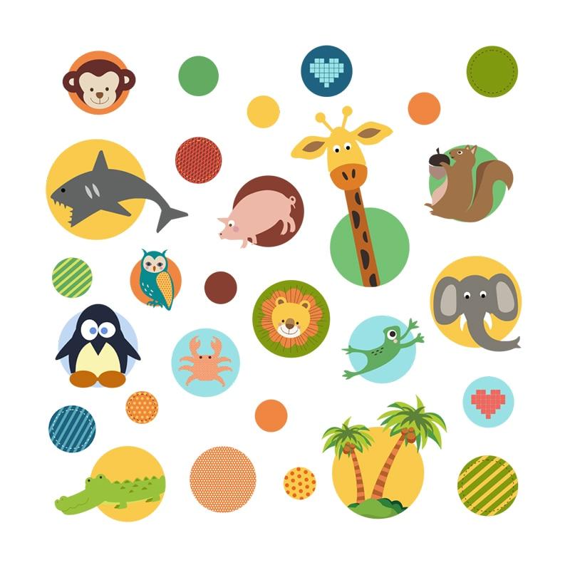 Creative Animals Circles Wall Stickers For Kids Room Decoration Nursery Mural Decals Monkey Giraffe Frog Owlet Safari Home Decor