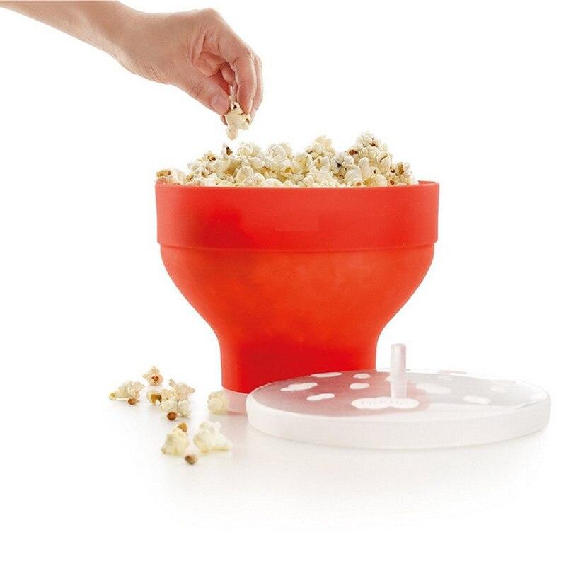 Microwaveable máquina de palomitas de maíz Pop Bowl con tapa de microondas segura nueva cocina Bakingwares DIY Cubo de palomitas