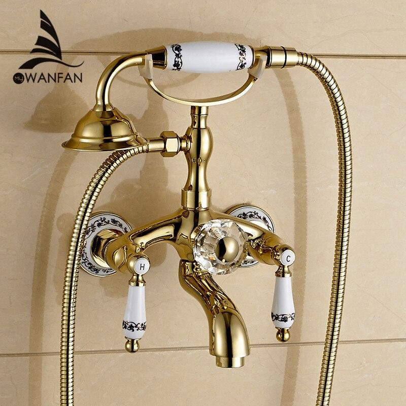 Grifo de ducha de latón pulido dorado para bañera grifo de cabeza de ducha de mano grifo de cerámica de lujo para pared de teléfono grifo de baño WF-18025