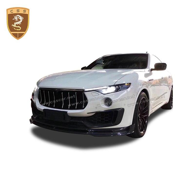 Kits de cuerpo de labios parachoques delantero de fibra de carbono Real adecuado para Maserati Levante accesorios de coche Auto parte difusor de parachoques delantero