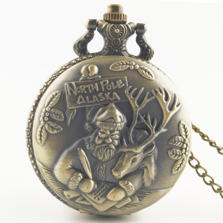 North Pole ALASKA Santa Claus y renos reloj de bolsillo de cuarzo analógico collar cadena hombres mujeres relojes para regalo navideño