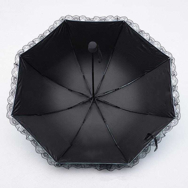 2019 New Arrival Lace Rain Sun Umbrella Women Arched Umbrellas 3 Folding UV Protection Dual-Use Umbrella Creative Gift Parasol