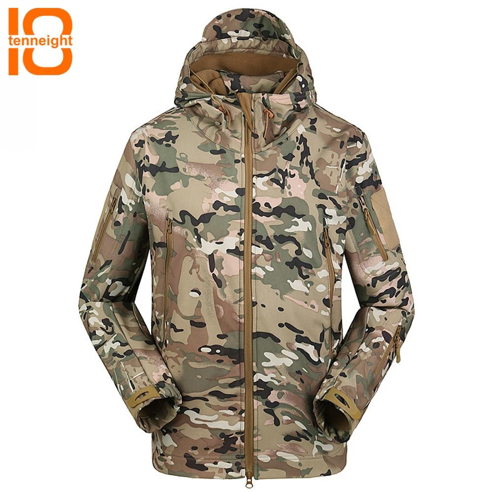 Chaqueta de lana de camuflaje militar de Softshell para hombre de TENNEIGHT, chaqueta táctica del ejército, ropa de caza para hombre, cazadora para senderismo y acampada