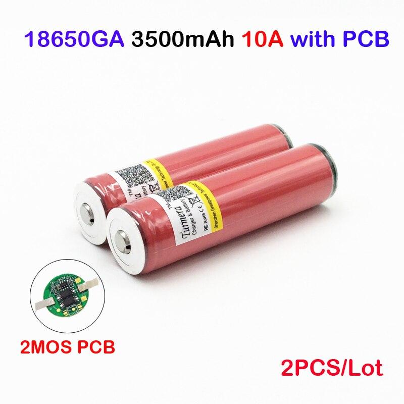 Ncr18650ga 3500mah 2pc para sanyo ncr18650ga protegido 3,6 V 10A baterías recargables planas NCR18650GA 3500mAh con PCB ma14