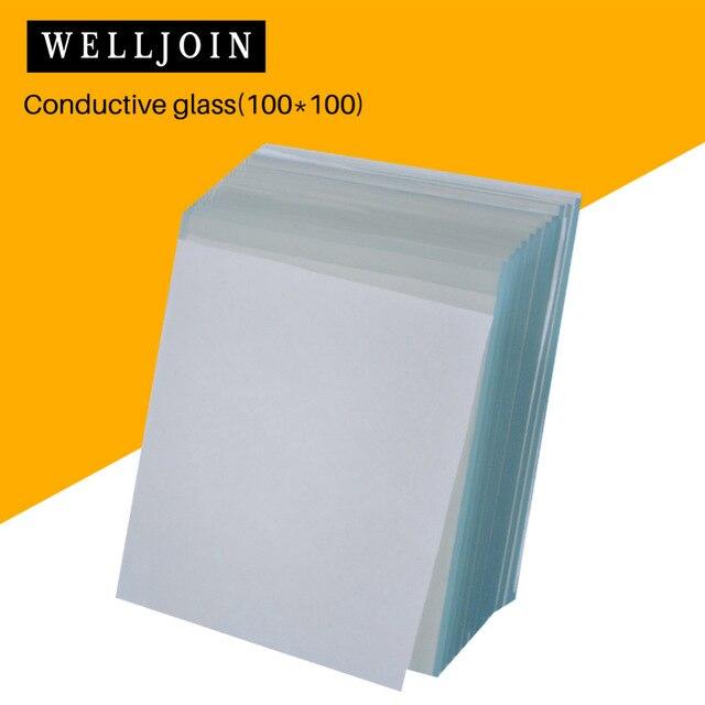 FTO المغلفة موصل الزجاج 100x100x2.2 مللي متر ، 6-10 أوم/sq ، 12 قطعة مختبر موصل شفافة الزجاج الفلور مخدر أكسيد القصدير
