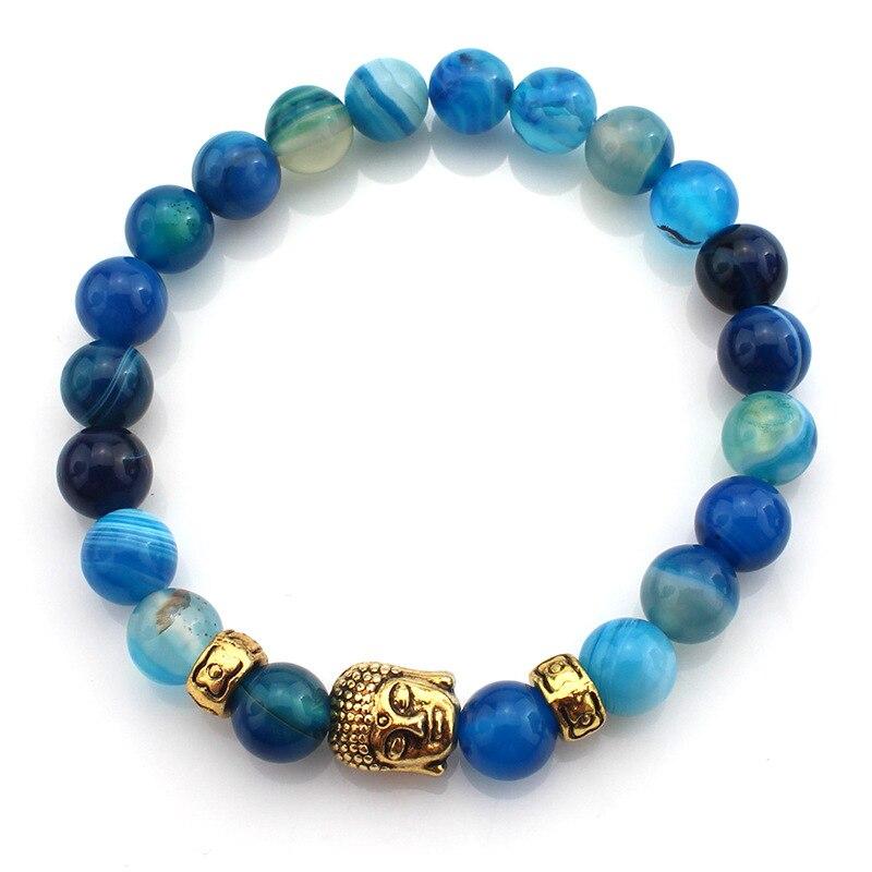 2018 Fashion Colorful Ethnic Rosary Bubbha Heads Charm Beads Natural Stone Chakra Bracelet For Men Women Gift Handmade Jewelry
