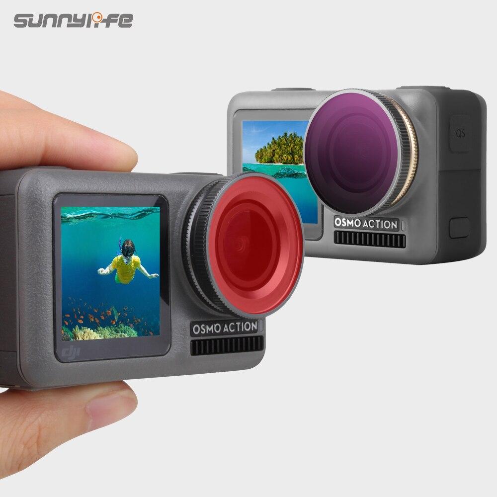 Filtro de lentes Sunnylife ajustable ND4 ND8 ND16 ND32 PL MCUV CPL filtros de buceo para DJI OSMO Action ND 4 8 16 32 Cámara deportiva