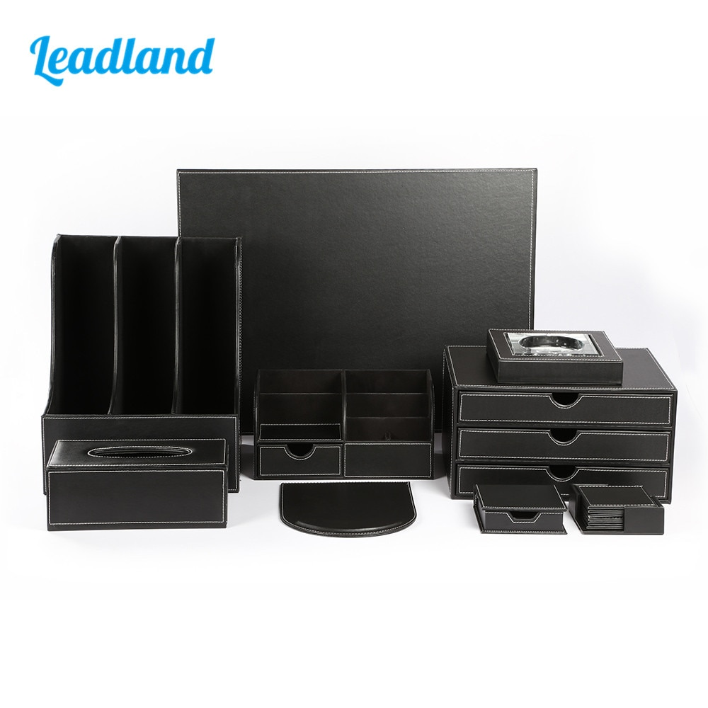 Juego de 9 lápices de escritorio de oficina de lujo, caja organizadora de papelería, caja organizadora de pañuelos, Cenicero T04 negro/marrón