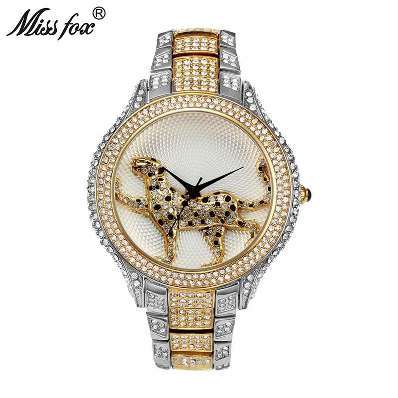 MISSFOX Полный алмаз лучшие женские часы брендов Модные Роскошные Кварцевые Золотые часы женские водонепроницаемые дикие женские наручные ча...