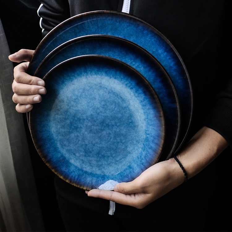 Placa de estilo ocidental azul, placa plana japonesa, bandeja redonda, placa de prato de bife comercial doméstica.