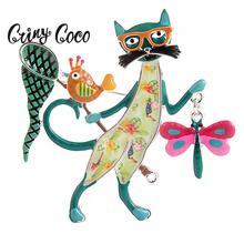 Cring Coco enfants broche femme bijoux Anime icônes mignon vacances chat papillon oiseau métal broches Mujer animaux broches pour vêtements