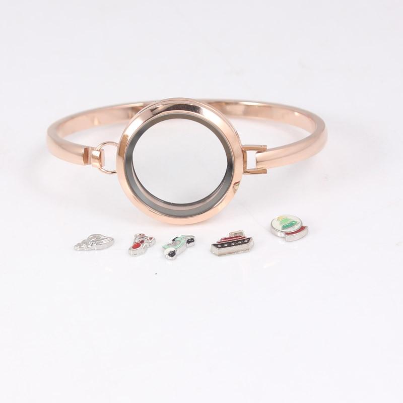 Розовое золото из нержавеющей стали плавающий медальон браслеты круглый Винт простой плавающий живой медальон, браслеты