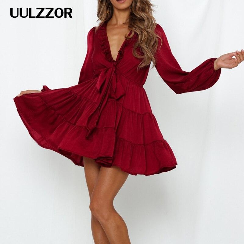 UULZZOR Sexy v-ausschnitt frauen kleid Elegante lange sleeve belted rüschen ausschnitt solide kleider Herbst damen party urlaub mini kleid