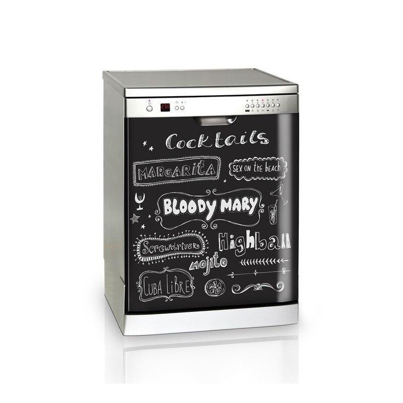 3D menú cóctel de lavavajillas, refrigerador etiqueta autoadhesiva para freezer chico arte funda para la puerta de la nevera de papel pintado