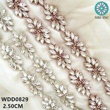 Robe de mariée en forme de nœud WDD0829   Longueur 1 cour, bordure en appliqué strass, en cristal perlé, argent et doré, cousue de fer, pour robe de mariée WDD0829