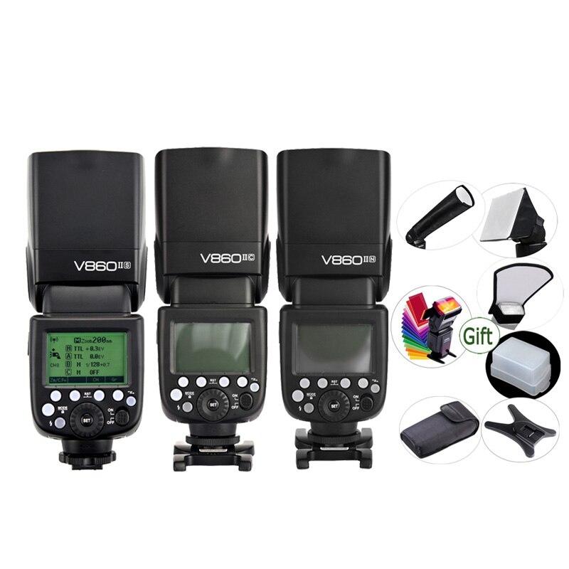 GODOX V860IIC V860IIN V860IIS V860IIO V860IIF Li-Ion batería TTL 2,4G Flash HSS Speedlite para Canon Nikon Sony Olympus Fuji
