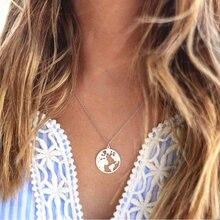2018 bohème or collier carte du monde pendentif collier pour femmes terre breloques colliers Boho bijoux chandail chaîne