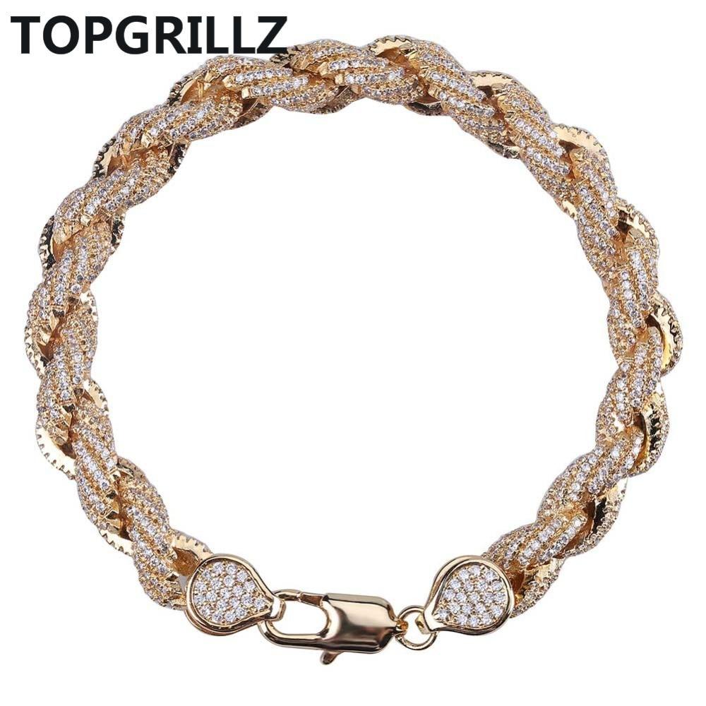 سوار سلسلة من الزركون المكعب للرجال ، مجوهرات ، لون ذهبي ، نمط الهيب هوب ، 8 مللي متر