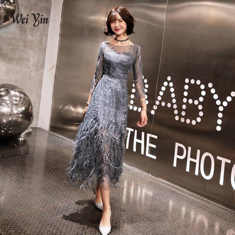 Weiyin nuevo estilo de té-longitud vestidos de noche grises 2020 plumas Formal Prom Bestido vestidos de fiesta Abiye negro vestido de noche