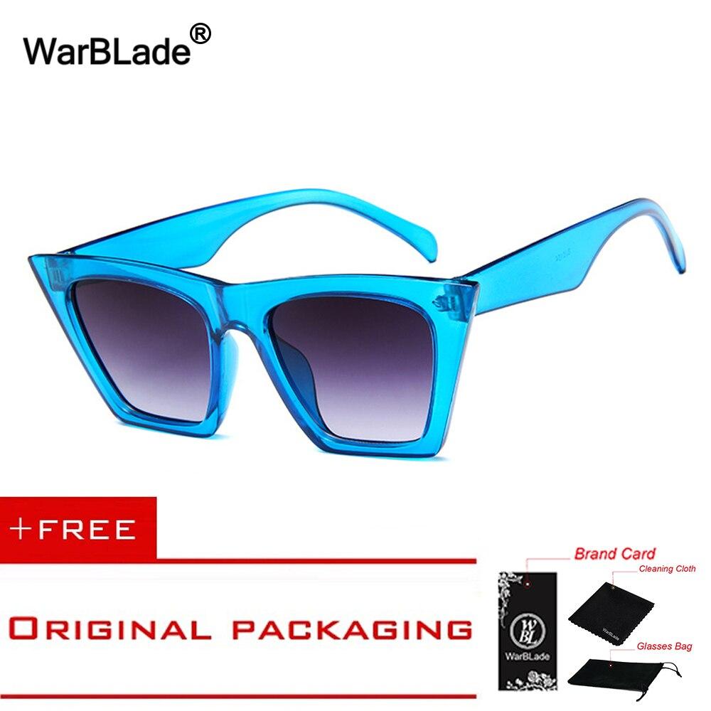 2018 Brand Retro Cat Eye Sunglasses Women big flat top sun glasses acetate clear blue frame black sunglasses 5154 WarBLade