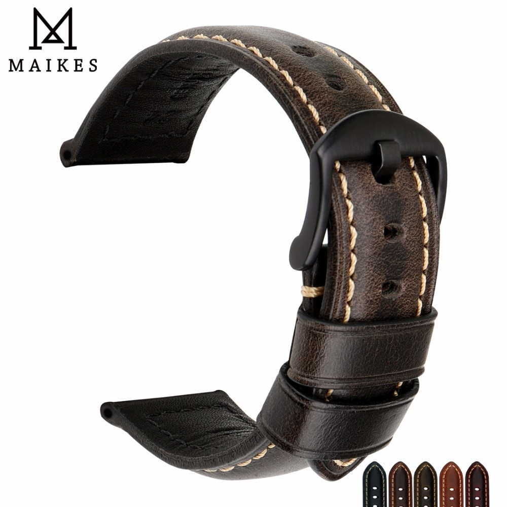 Accesorios de reloj MAIKES, correa de reloj de 20mm 22mm 24mm 26mm, correa de reloj Vintage de cuero de vaca para reloj fósil Panerai