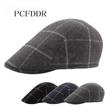 PCFDDR Plaid duck tongue cap classical retro Plaid European and American youth Beret.