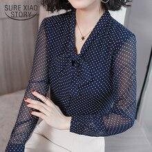 Bow col bureau Blouse à manches longues femmes chemises mode bleu Dot imprimer en mousseline de soie Blouse chemise femmes hauts et chemisiers 1864 50