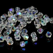 Perles en cristal AB Bicone 5328/5301 100 pièces/lot 4mm perles en cristal tchèques en vrac/perles en verre à facettes pour bricolage bijoux collier Bracelet