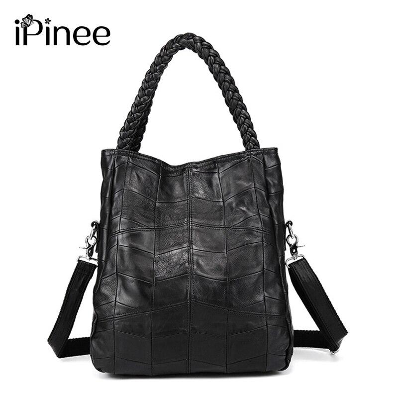 IPinee-حقائب يد نسائية من جلد الغنم الأصلي ، حقائب كتف مرقعة ، شحن مجاني ، 100%