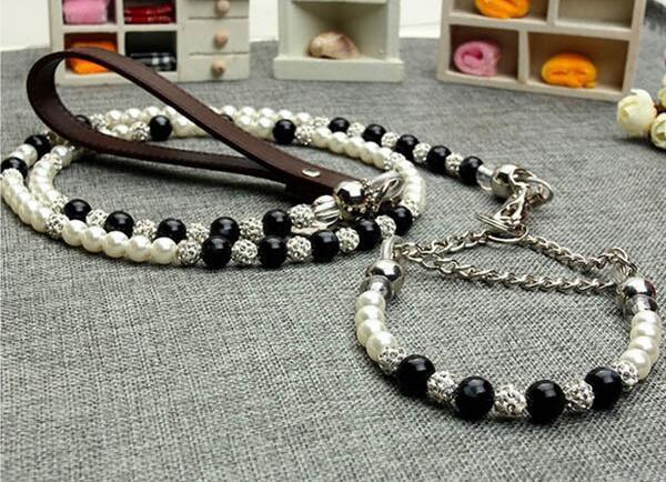 High grade dogs luxury diamond ball black white pearl collar lead set doggy fashion collars leash suit pet dog jewelry 1pcs