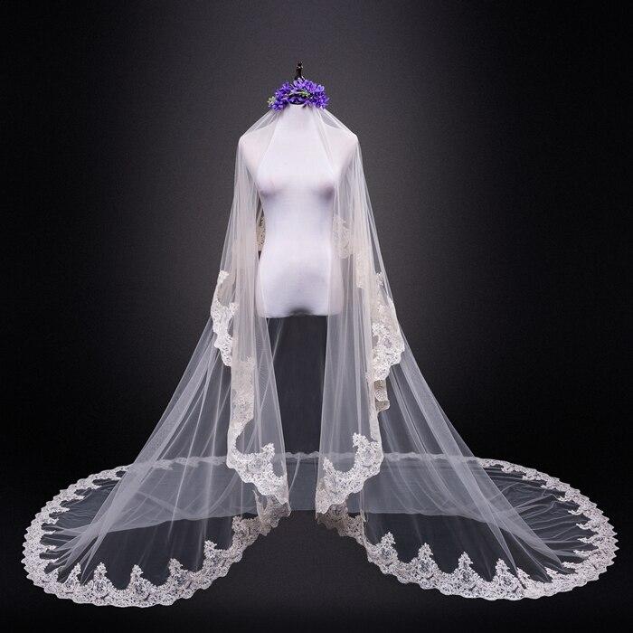 2018 caliente real novia máscara velo 3 metros blanco y lentejuelas de color marfil Blings Sparkling Lace Edge Purfle largo Catedral boda customiza