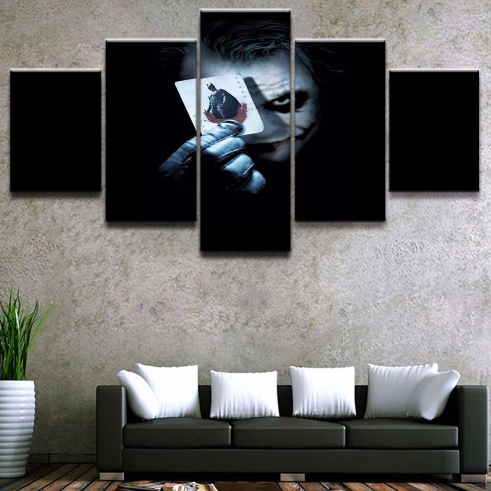 5 paneles de fotos modulares Joker decoración de pared moderna de hogar el caballero oscuro película póster lienzo HD imprimir pintura en lienzo obras de arte