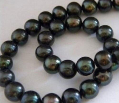 9-10mm Tahitian Perlen-Korn Schwarz 38 CM