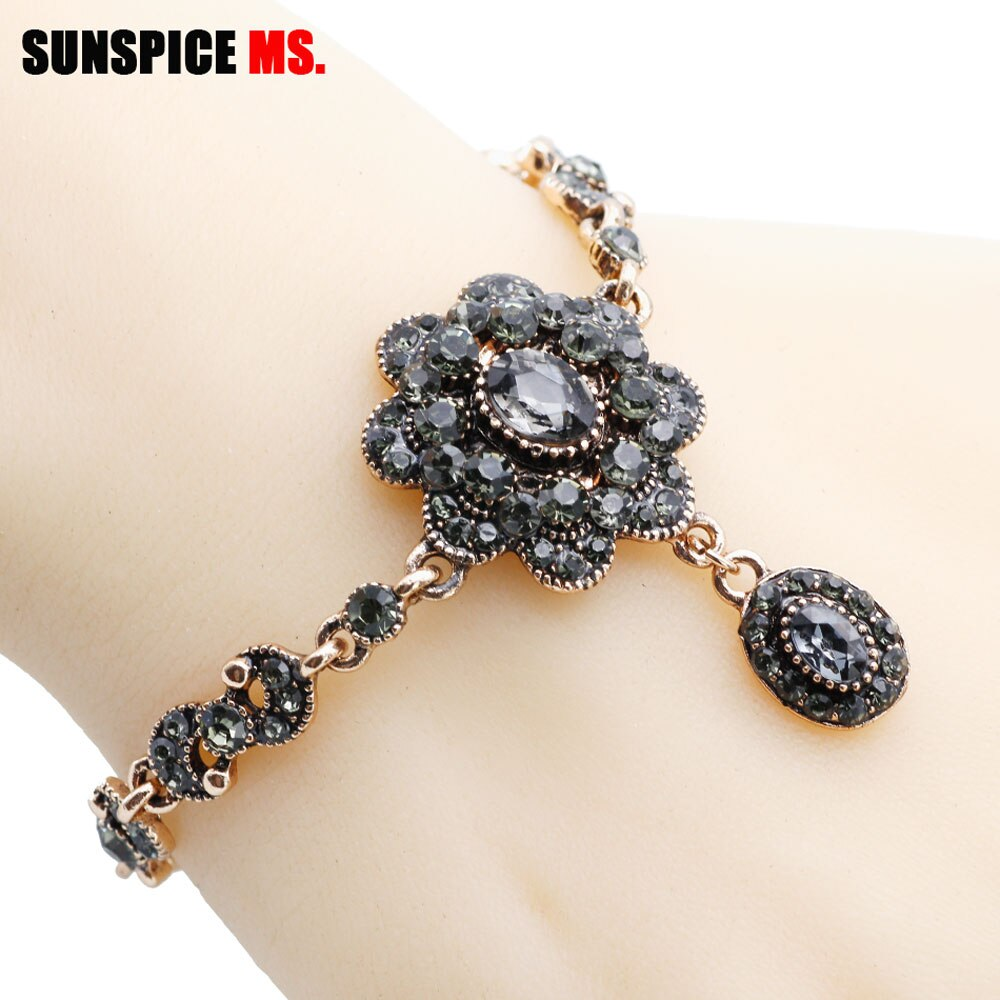 SUNSPICE MS Tukish Gray Rhinestone Charm Bracelets for Women Antique Gold Color Traditional Wedding Flower Wrist Chain Wholesale