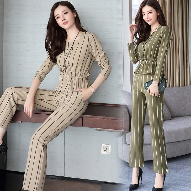 Spring and Autumn new fashion suit female Korean Slim waist top nine pants wide leg pants striped two-piece TB1807