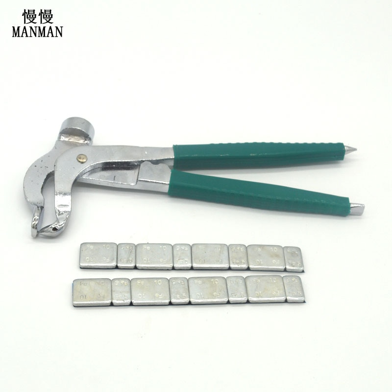 Iron Wheel Weight Plier Multifunction Balance Remover Balancer Plier Hammer Cutter Tire Tool  with Two balancing blocks