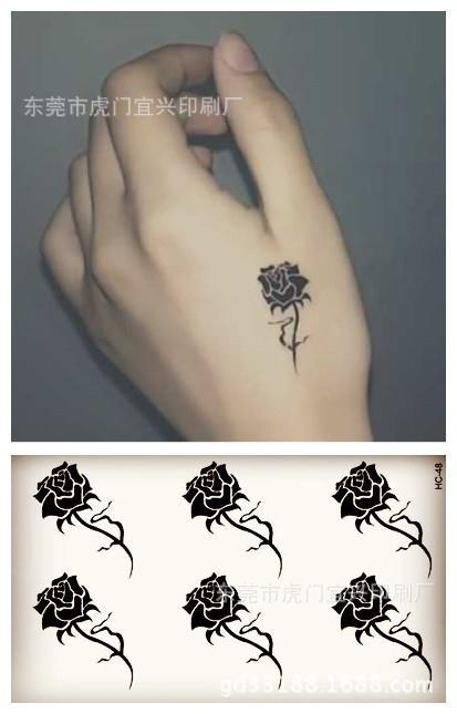 Arte corporal tatuaje temporal impermeable para hombres y mujeres simple diseño de Rosa Negra 3d tatuaje pequeño etiqueta al por mayor HC1048