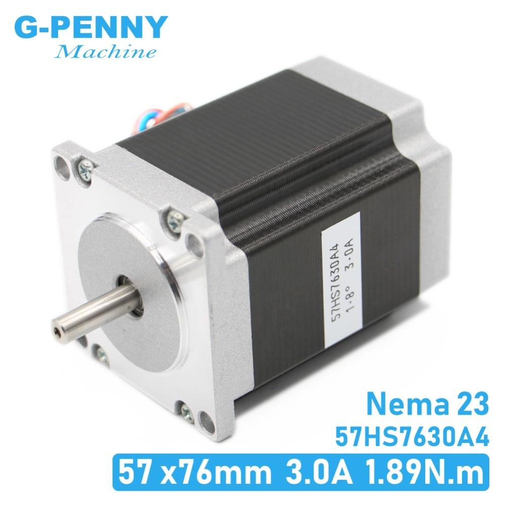 NEMA23 cnc מנוע צעד 57 x76mm1.89N. m 4-עופרת 1.8deg/Nema 23 מנוע 3A 270Oz-in עבור CNC מכונת 3D מדפסת! גבוהה באיכות
