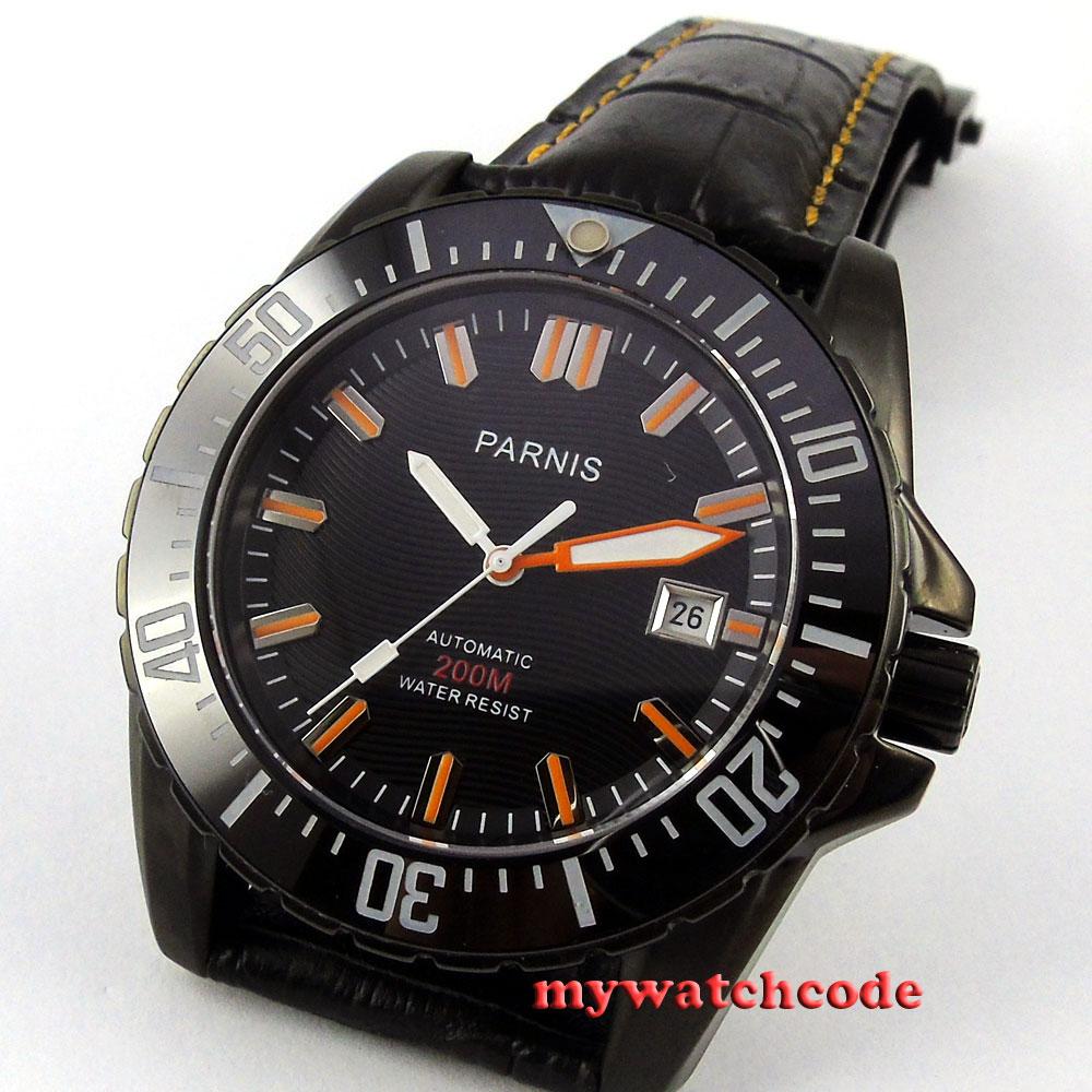 Parnis black dial Ceramic bezel 20atm automatic mens leather diving watch P186