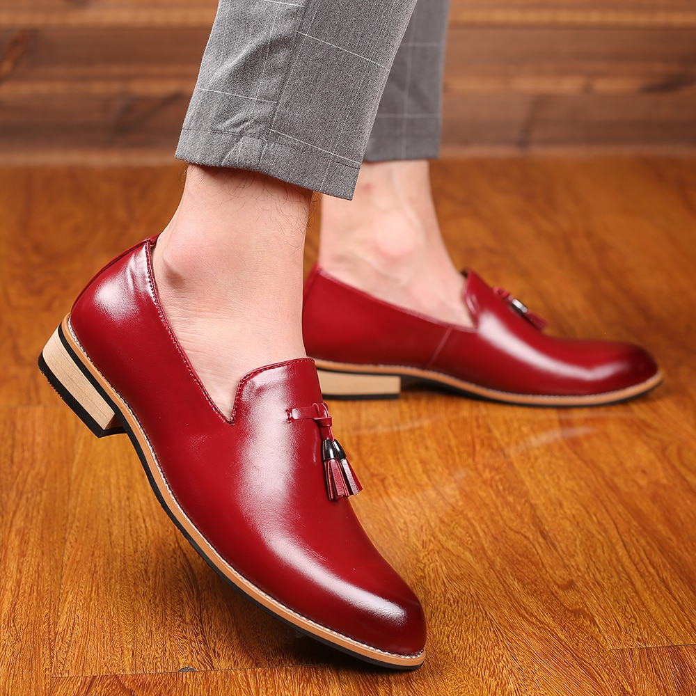 M-anxiu, marca de lujo, zapatos de cuero PU con punta en punta, zapatos de negocios, zapatos informales de vestir para hombre, zapatos de goma suave, zapatos de boda transpirables, 3 colores