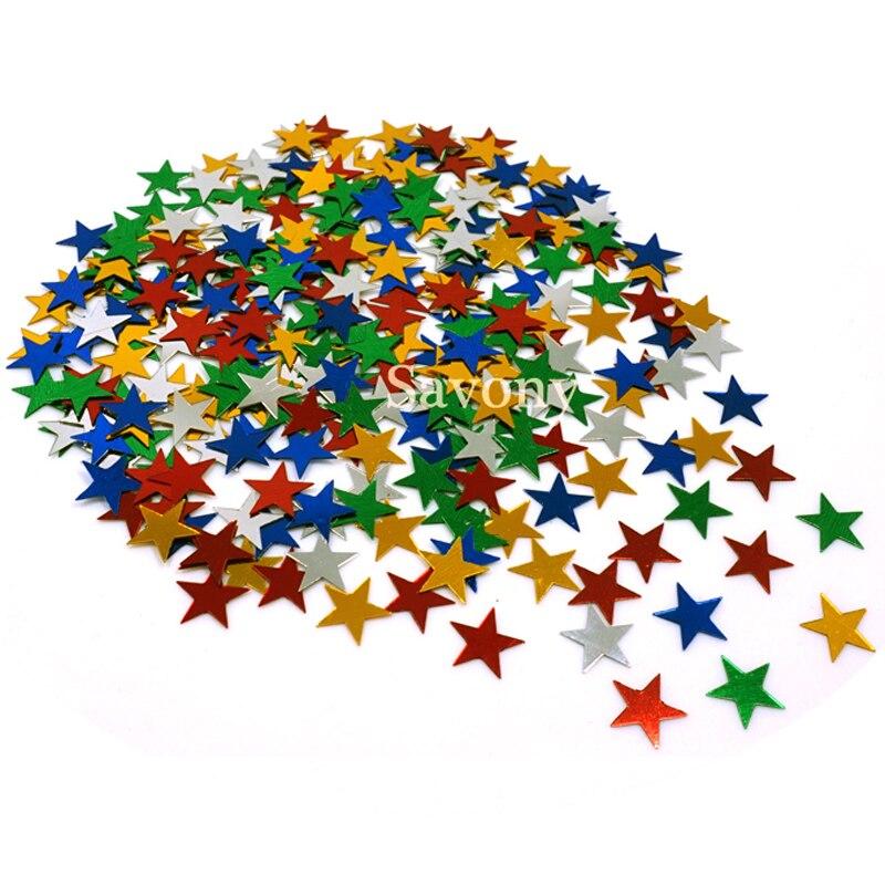 Lote de 1000 unidades de 10mm de lentejuelas plateadas de estrellas, estrellas, polvo metálico Multicolor, decoración de mesa de Año Nuevo para decoración de fiestas
