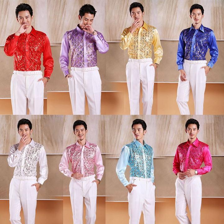 Men's glittering sequined shirt stage performance clothing dance gala hosted chorus Shirts Chorus performance uniform shirt