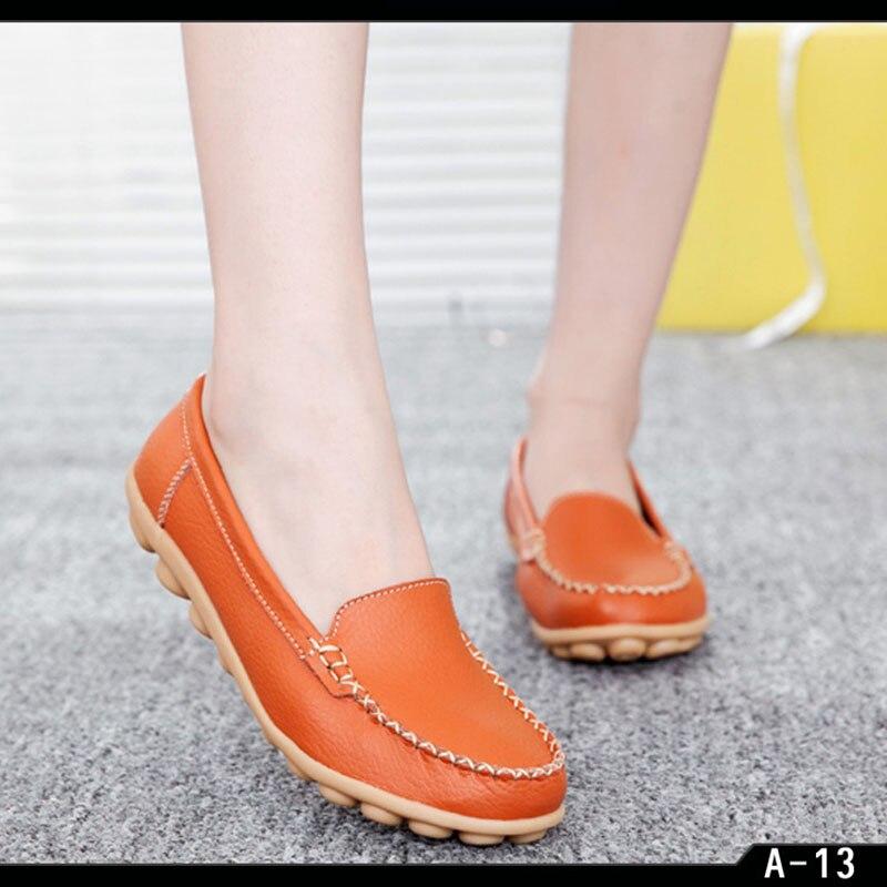 Primavera otoño mujer cómodos zapatos planos Casual puntiagudos mocasines Ys primavera ocio madre zapatos para personas mayores zapatos blancos F