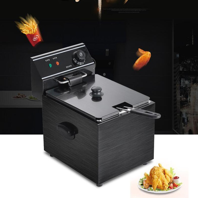 Electric Grill Frying pan cylinder commercial thickening fryer Fried chicken/dough sticks 8L furnace French fries machine enlarge