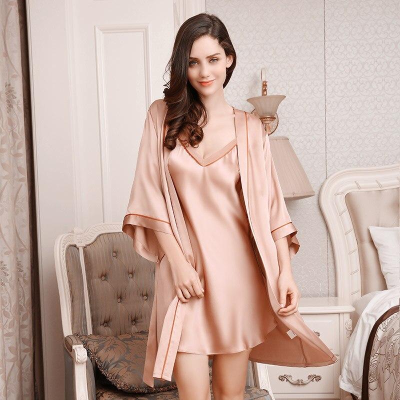 ثوب نوم حريري مثير من قطعتين للسيدات ، ملابس نوم 100% ، رداء حمام كيمونو ناعم ومريح ، YE1711