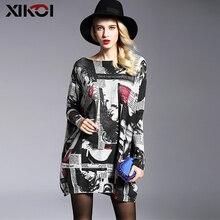Xikoi 패션 대형 니트 스웨터 여성 의류 풀오버 점퍼 슬래시 목 batwing 슬리브 긴 인쇄 스웨터 셔츠