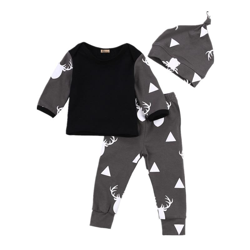 Newborn Baby Boys Baby Girl Infantil Clothes Deer Tops T-shirt +Pants Leggings Hat 3pcs Outfits Set