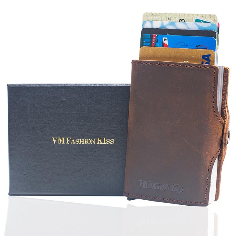 Купить с кэшбэком VM FASHION KISS Crazy Horse Leather Mini RFID Wallet Security Information Double Box Porte Carte Credit Card Holder Metal Purse